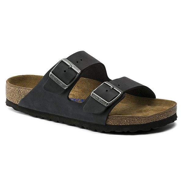 Унисекс кожени чехли Биркенщок / BIRKENSTOCK Arizona Soft Footbed черни външен поглед отпред