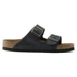 Унисекс кожени чехли Биркенщок / BIRKENSTOCK Arizona Soft Footbed черни вътрешен поглед отстрани