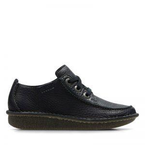 Дамски кожени обувки Кларкс / Clarks Funny Dream - тъмно сини външен изглед отстрани