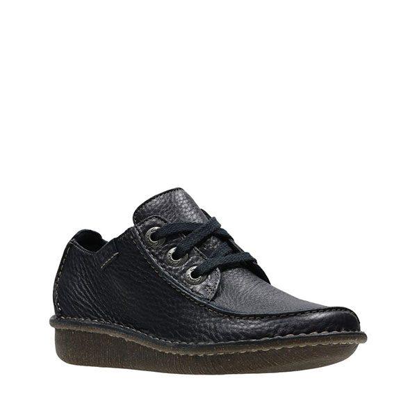 Дамски кожени обувки Кларкс / Clarks Funny Dream - тъмно сини външен изглед отпред