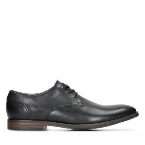 Мъжки кожени обувки Кларкс / Clarks Glide Lace - черни външен изглед отстрани