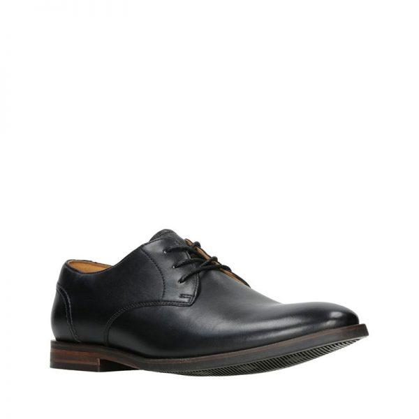 Мъжки кожени обувки Кларкс / Clarks Glide Lace - черни външен изглед отпред