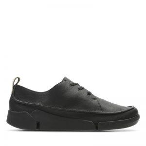 Дамски черни кожени обувки Кларкс / Clarks Tri Clara външен поглед отстрани
