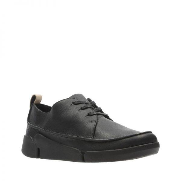 Дамски черни кожени обувки Кларкс / Clarks Tri Clara външен поглед отпред