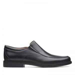 Мъжки черни кожени обувки Кларкс / Clarks Un Aldric Walk външен изглед отстрани