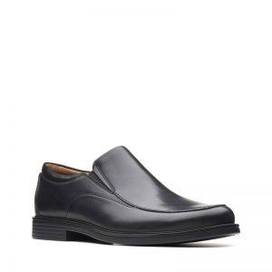 Мъжки черни кожени обувки Кларкс / Clarks Un Aldric Walk външен изглед отпред