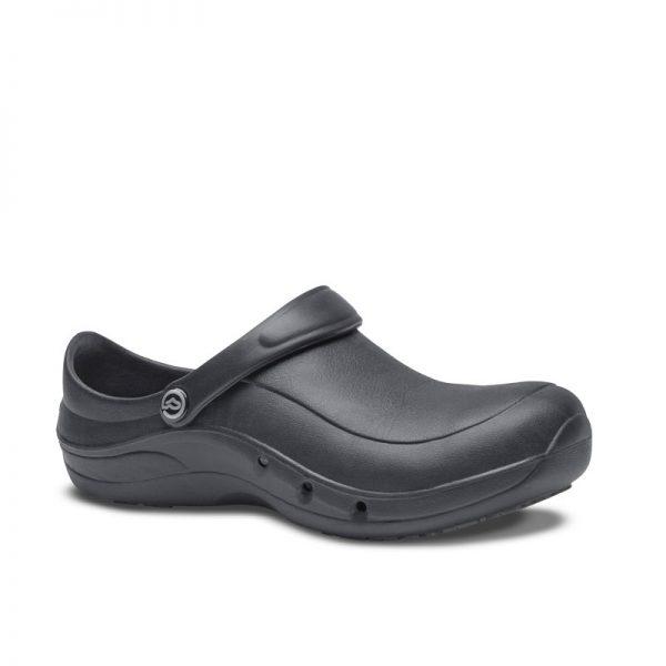 професионални работни обувки УеърърТек / WearerTech EziProtekta - черни страничен поглед отпред