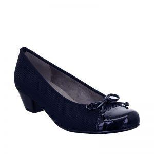 дамски тъмно сини обувки на ток с фльонга Ара Catania външен изглед отпред