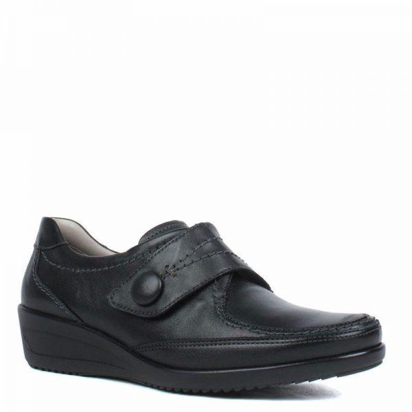 Дамски черни кожени обувки с велкро Ара / ara 12-40612-01 външен поглед отпред