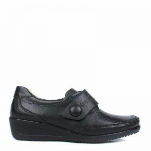 Дамски черни кожени обувки с велкро Ара / ara 12-40612-01 външен поглед отстрани