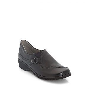 Дамски черни кожени мокасини Ара / ara 12-42767-01 външен поглед отпред