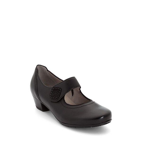 Дамски черни обувки на ток с велкро Ара / ara 12-47629-01 външен поглед отпред