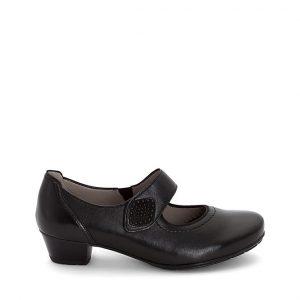 Дамски черни обувки на ток с велкро Ара / ara 12-47629-01 външен поглед отстрани