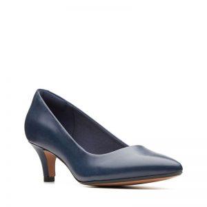 Дамски елегантни кожени обувки на ток Кларкс / Linvale Jerica - тъмно сини външен поглед отпред
