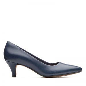 Дамски елегантни кожени обувки на ток Кларкс / Linvale Jerica - тъмно сини поглед отстрани