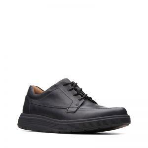 Мъжки ежедневни кожени обувки с връзки Кларкс / Un Abode Ease - черни страничен поглед отпред
