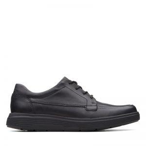 Мъжки ежедневни кожени обувки с връзки Кларкс / Un Abode Ease - черни поглед отстрани