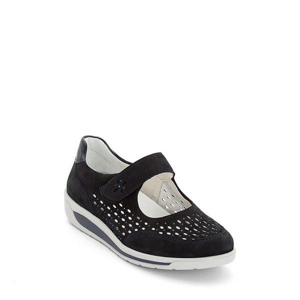 Дамски перфорирани обувки от набук с велкро ara 12-31019-02 - т. сини страничен изглед отпред