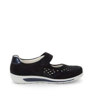 Дамски перфорирани обувки от набук с велкро ara 12-31019-02 - т. сини външен изглед отстрани