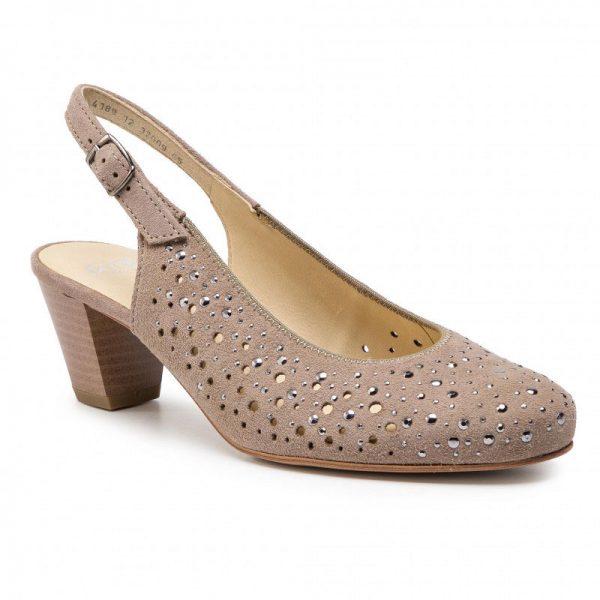 Дамски елегантни обувки на ток без пета Ара / ara 12-32009-65 - ест. кожа, бежови кадър отпред