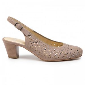 Дамски елегантни обувки на ток без пета Ара / ara 12-32009-65 - ест. кожа, бежови кадър отстрани