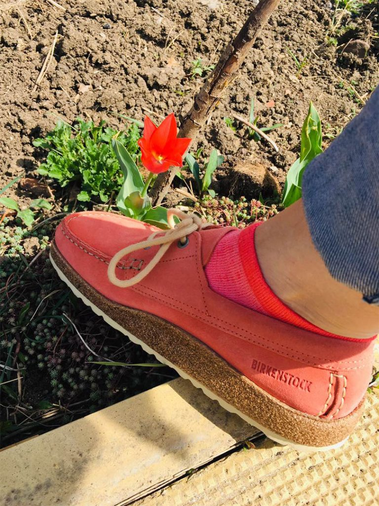 розови обувки BirkenStock до червено лале