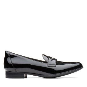 дамски обувки с нисък ток естествена кожа черен лак Clarks Un Blush Go външен поглед отстрани