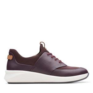 дамски виненочервени ежедневни кожени обувки Clarks Un Rio Lace външен поглед отстрани