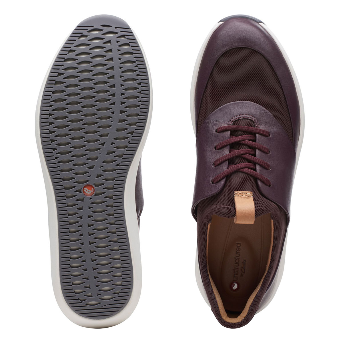 дамски виненочервени ежедневни кожени обувки Clarks Un Rio Lace изглед отгоре и отдолу подметка
