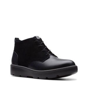Дамски черни кожени обувки Clarks Un Balsa Mid външен изглед отпред