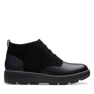 Дамски черни кожени обувки Clarks Un Balsa Mid изглед отстрани