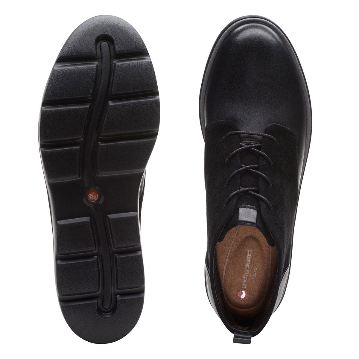 Дамски черни кожени обувки Clarks Un Balsa Mid изглед отгоре и подметка
