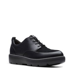 Дамски черни кожени обувки за всеки ден Clarks Un Balsa Lace страничен поглед отпред