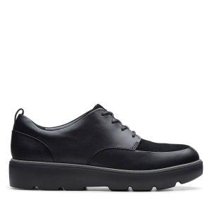 Дамски черни кожени обувки за всеки ден Clarks Un Balsa Lace поглед отстрани