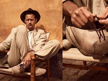актьорът Александър Скарсгард нови визии обувки Clarks