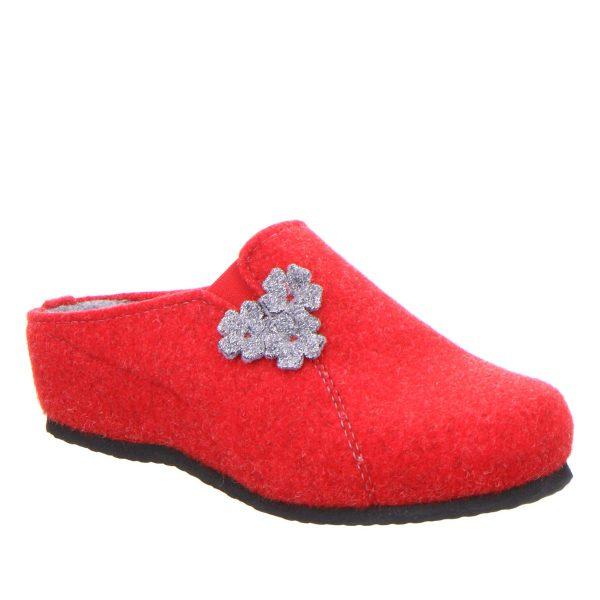 червени дамски чехли от вълнен филц с топла подплата Ара / ara 15-29970-08 външен поглед отпред