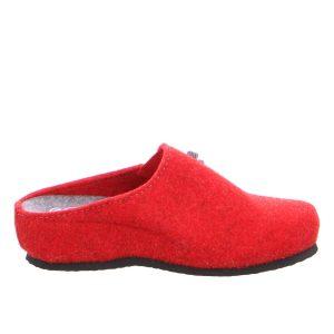 червени дамски чехли от вълнен филц с топла подплата Ара / ara 15-29970-08 поглед отстрани