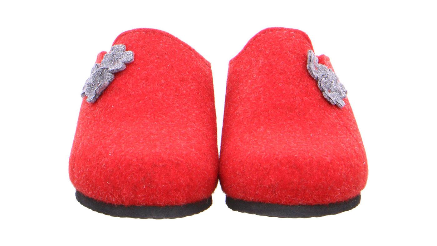 чифт червени дамски чехли от вълнен филц с топла подплата Ара / ara 15-29970-08 поглед отпред