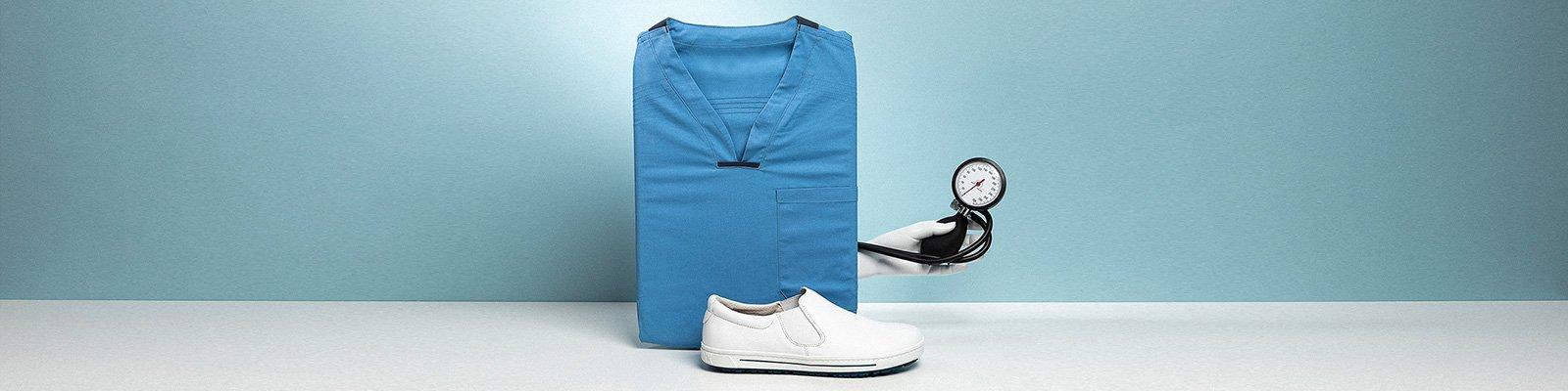 корица на професионални работни обувки BirkenStock с медицинско оборудване