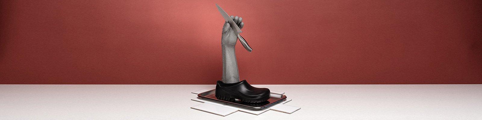 корица на професионални работни обувки BirkenStock с ресторантьорско оборудване