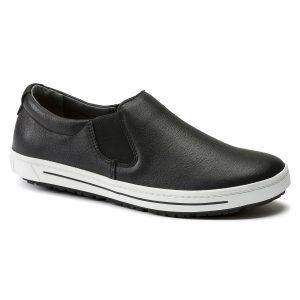 работни обувки без връзки от ест. кожа Birkenstock QO 400 NL черни поглед отпред