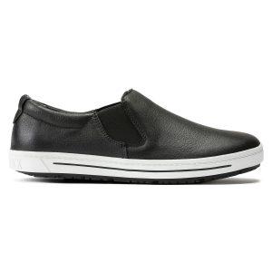 работни обувки без връзки от ест. кожа Birkenstock QO 400 NL черни поглед отстрани