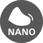 знак за използвана нано технология при бомбето на обувката