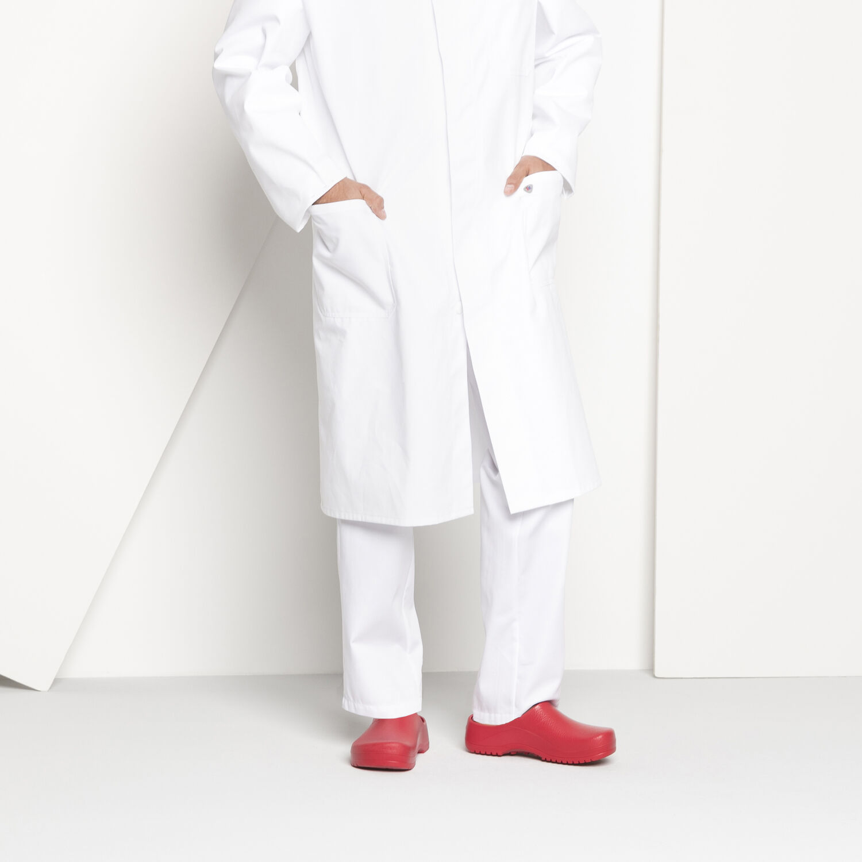 работно затворено сабо Birkenstock Super-Birki червено с бяло медицинско облекло