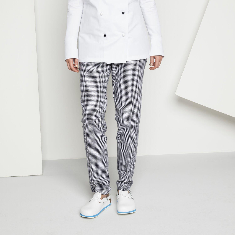 Професионални работни чехли Birkenstock Kay SL SF SG - бели в комплект с кариран панталон