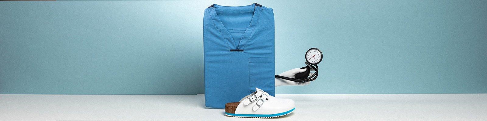 Професионални работни чехли Birkenstock Kay SL SF SG - корица с медицинска униформа в синьо