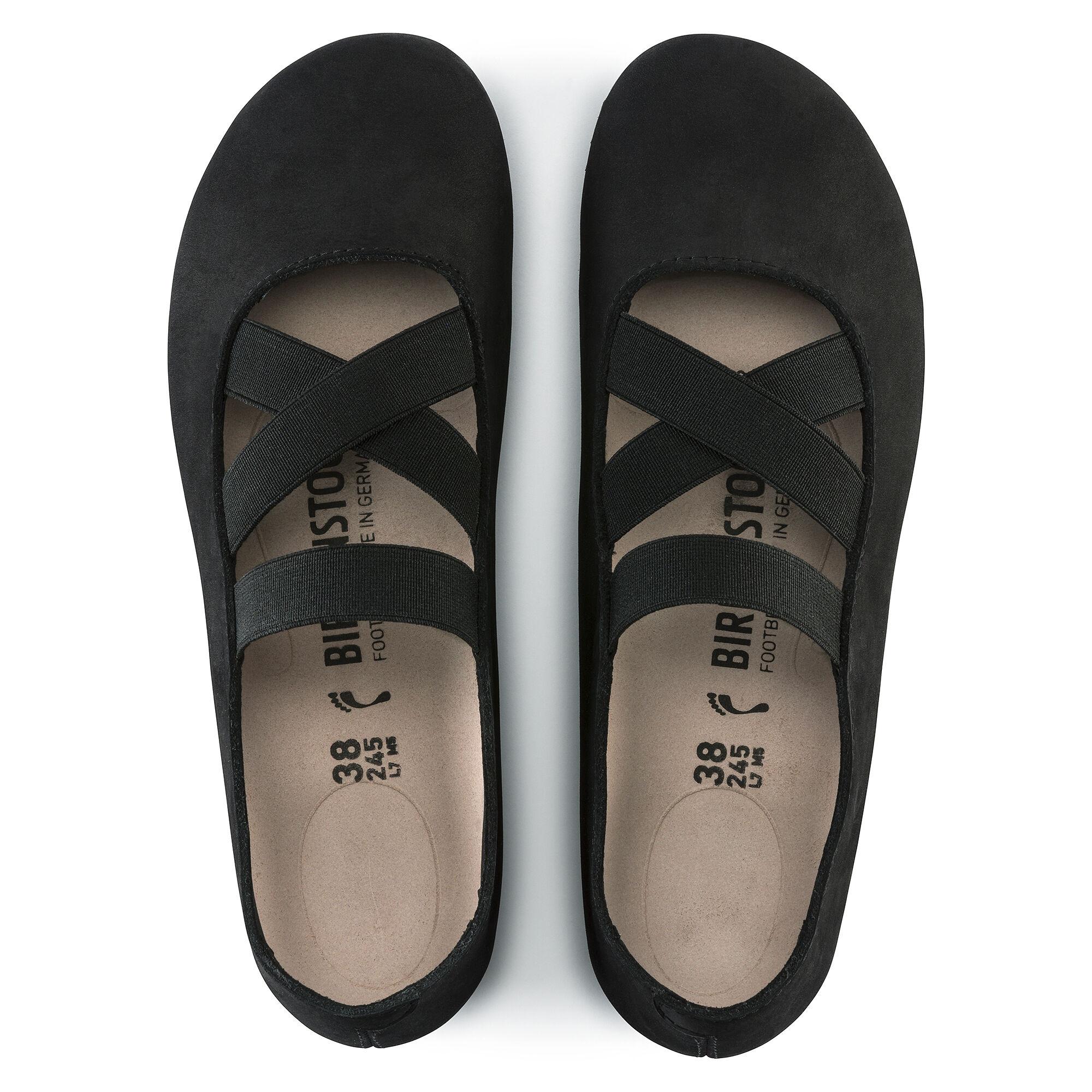 чифт дамски обувки с ластици BIRKENSTOCK Santa Ana - черни поглед отгоре