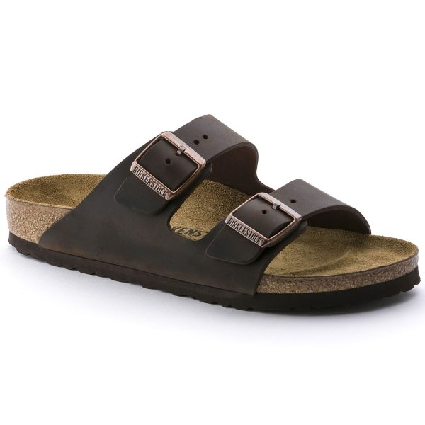 Мъжки чехли Биркенщок / BIRKENSTOCK Arizona Oiled Leather Habana поглед отпред
