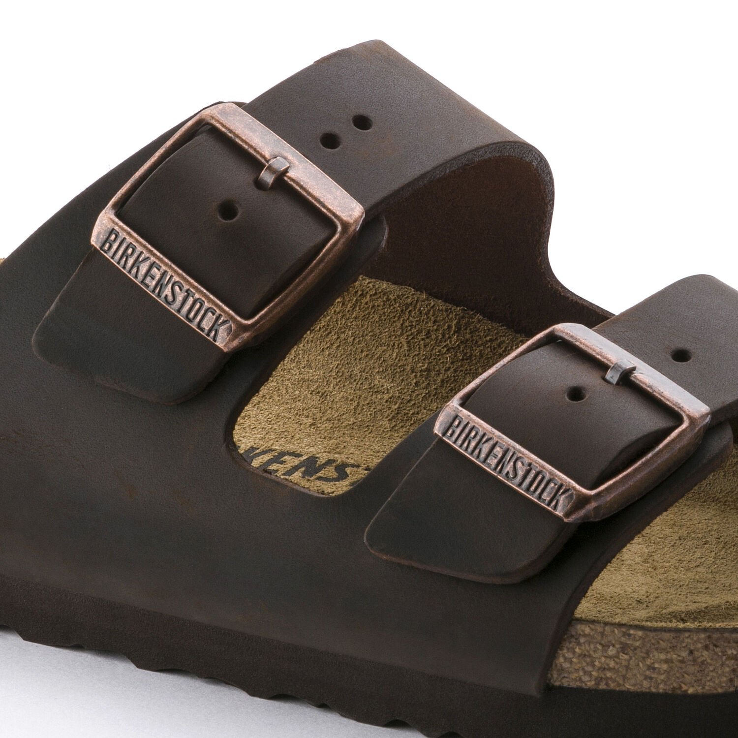 мъжки чехли Биркенщок / BIRKENSTOCK Arizona Oiled Leather Habana детайл катарами
