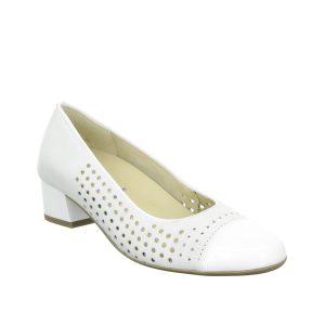 Дамски перфорирани обувки на ток ara 12-35803-06 бели от естествена кожа